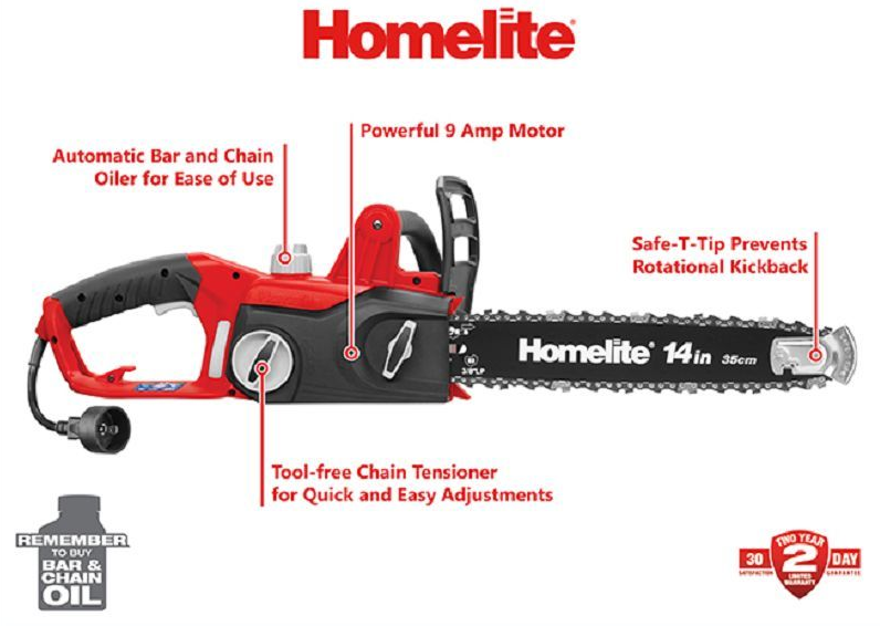 Homelite Model # UT43103A 14 in. 9 Amp Electric Chainsaw Outdoor Yard Trimming