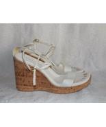 Antonio Melani White Leather Strappy Open Toe Cork WEDGE Sandals 10M Used - $34.64