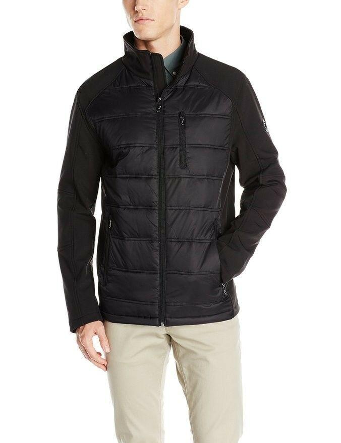 New Calvin Klein Men Hybrid Puffer And Softshell Jacket Black Size XL