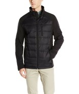 New Calvin Klein Men Hybrid Puffer And Softshell Jacket Black Size XL - $65.99