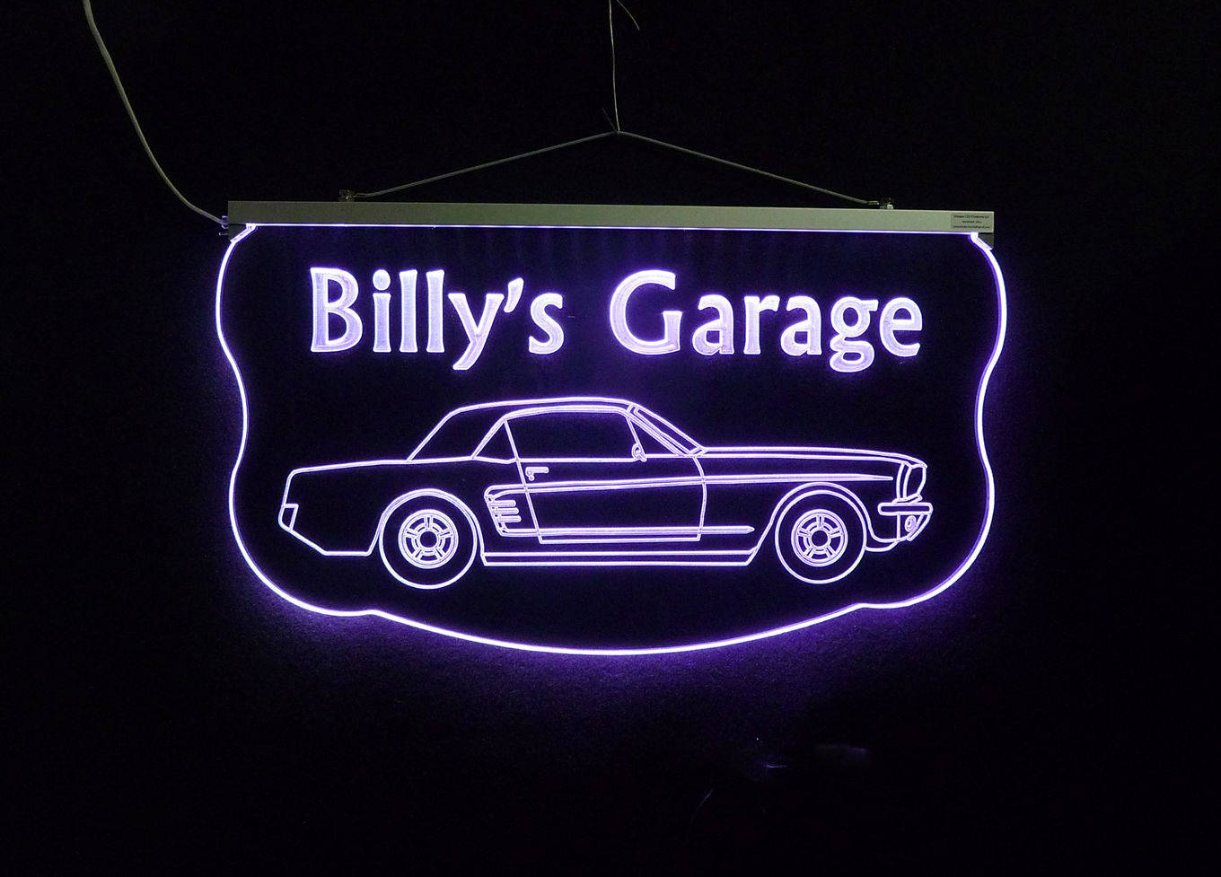 Personalized Garage Signs For Automotive : Personalized led sign ford mustang man cave garage