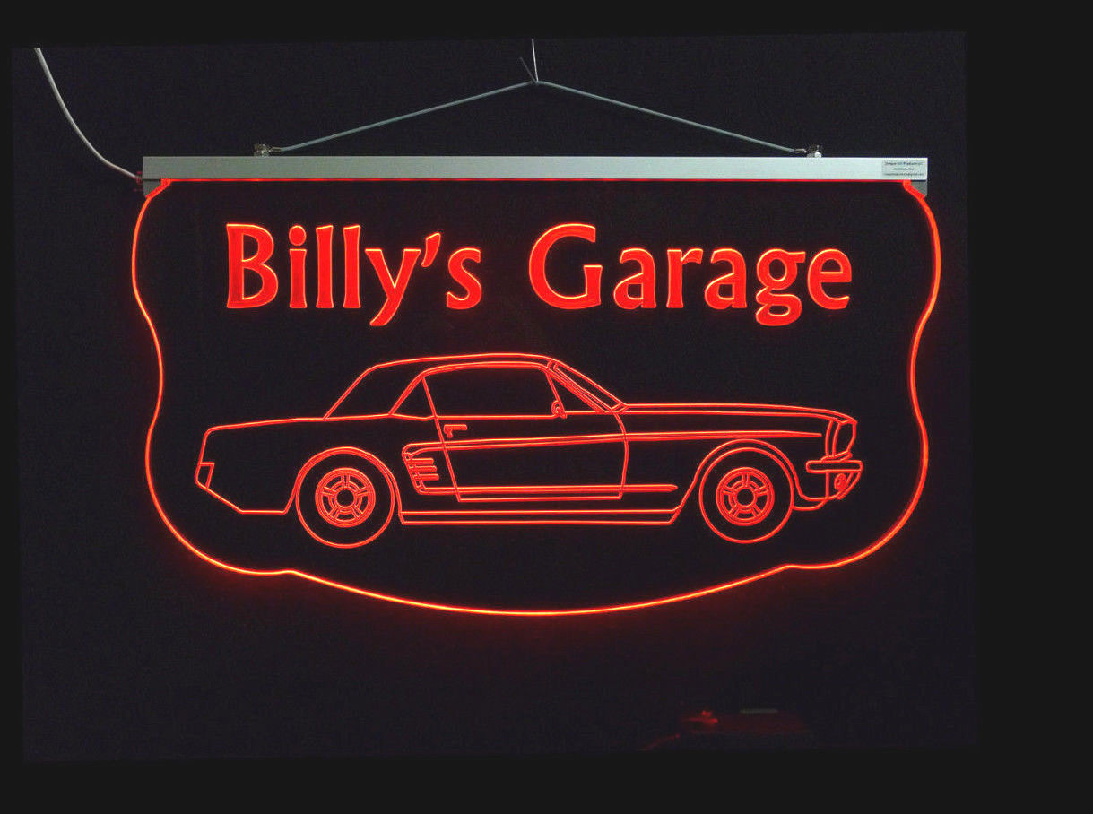Personalized Man Cave Garage Signs : Personalized led sign ford mustang man cave garage
