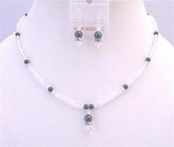 Exclusive Clear Crystals & Tahitian Swarovski Pearls Necklace Set - $39.38