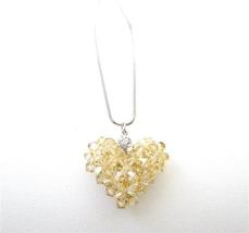 Golden Shadow Crystals Puffy Heart Pendant Handmade Romantic Jewelry - $26.38