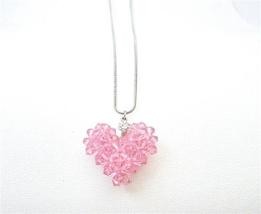 Romantic Valentine Gift Lite Rose Crystals Puffy Heart Pendant Jewelry - $26.38