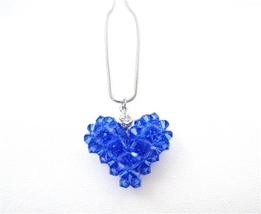 Custom Valentine In Your Crystals Sapphire Puffy Heart Pendant Jewelry - $26.38