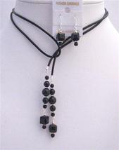 Black Pearls Crystals Leather Lariat Necklace Jet Crystal Necklace Set - $30.28