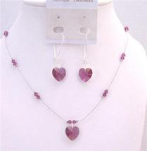 Truly Love Artisan Romantic Fuchsia Crystals Heart Pendant Jewelry - $32.88
