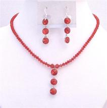 Exquisite Passion Lite Siam Red Swarovski Crystal Pendant Necklace Set - $41.98