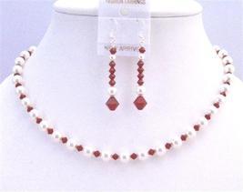 Seduction Claret Swarovski Crystals w/ Pure White Pearls Necklace Set - $36.13