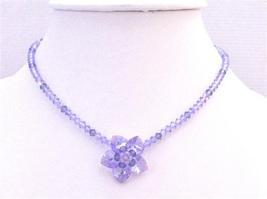 Handmade Violet & Amethyst Crystals Flower Heart Petals Necklace - $58.25