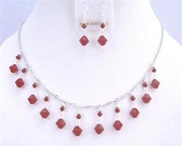 Exquisite Dark Red Coral Swarovski Crystals Silver Plated Necklace Set - $49.78