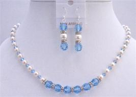 White Pearls Aquamarine Crystals Necklace Set w/ Diamond Spacer - $49.78