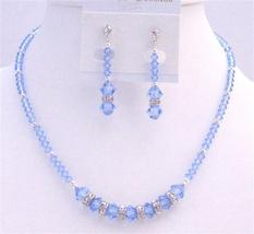 Austrian Crystals Artisan Handmade Lite Sapphire Crystals Necklace Set - $51.08