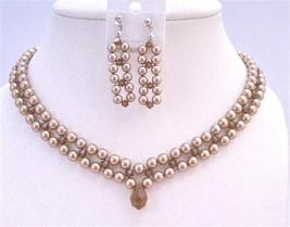 Interwoven 3 Stranded Swarovski Bronze Pearls Smoked Crystals Necklace - $74.48