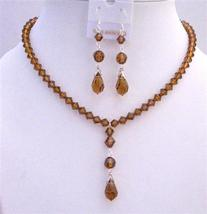 Brown Crystal Smoked Topaz Swarovski w/ Tear drop Pendant Necklace Set - $56.95