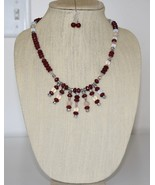Brazilian Red Ruby, Moonstone, Jade & Crystals Waterfall Necklacle & Ear... - $46.00