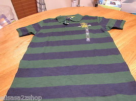 Boy's youth Tommy Hilfiger Polo shirt stripe M 12/14 NEW trim fit  green... - $28.70