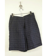 Ralph Lauren pleated lined blue women's linen shorts checked size 10 (46) - $21.00