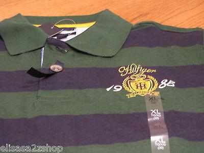 Boy's youth Tommy Hilfiger Polo shirt stripe M 12/14 NEW trim fit  green T881072