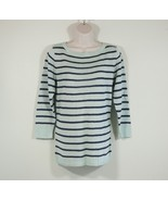 Cute Talbots Womens Knit Sweater Blue Teal Striped Size M Medium 3/4 Sleeve - $43.00