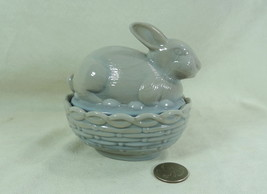 """4"""" Bunny Rabbit On Basket Weave Nest Grey Glass Covered Candy Dish - $21.29"""