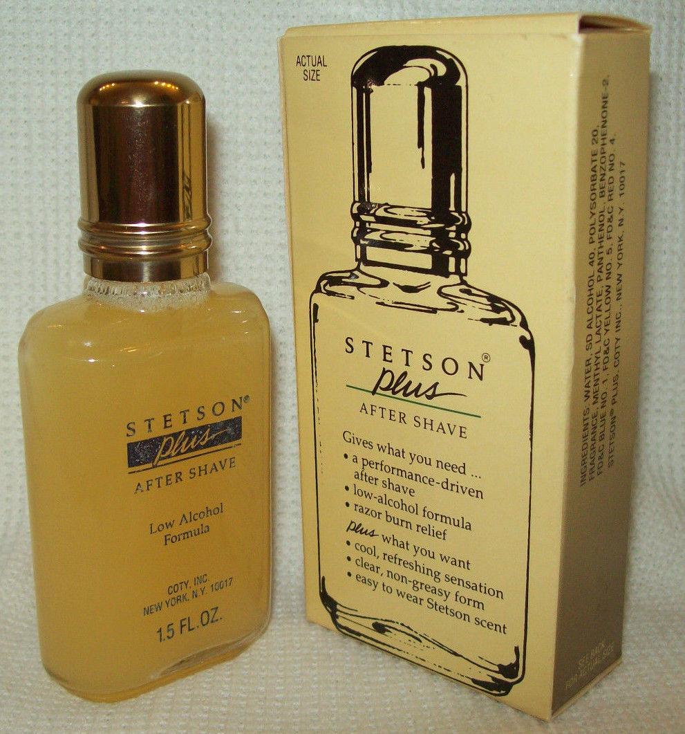Vintage STETSON PLUS AFTER SHAVE Clear Low Alcohol Formula 1.5 OZ. Coty MEN RARE
