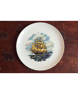 Vintage decorative plate clipper sail ship hand signed nautical theme 19... - $29.00