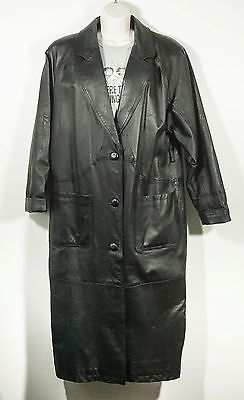 Womens Long Black Leather Over Coat Jacket Duster Trench Liz Baker Size M