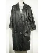Womens Long Black Leather Over Coat Jacket Duster Trench Liz Baker Size M - $79.00