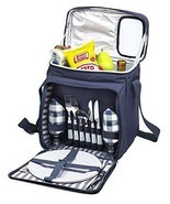 Denim Blue Colored Insulated Travel Picnic Basket Bag Set - Incl Place S... - £35.50 GBP