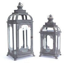 Set of 2 Moroccan Hegira Distressed Iron and Glass Pillar Candle Holder ... - $146.22