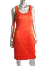 Sangria New Orange Satin Bandage Sheath Knee - Length Wear To Work Dress  10 - $34.99