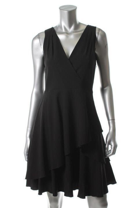Primary image for DKNY New Asymmetric Tiered V-Neck Sleeveless Little Black Dress  12