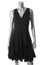 DKNY New Asymmetric Tiered V-Neck Sleeveless Little Black Dress  12 - $56.99