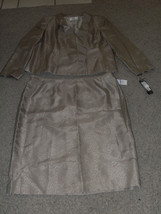 Le Suit New Brown Shimmer Shantung Tie Collar Jacket 2PC Skirt Suit  18 - $42.99