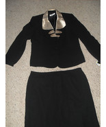 Le Suit New Safari Nights Black Skirt Suit With Fancy Gold Collar  14   ... - $65.98