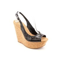 Jessica Simpson New Black Patent Cork Platform Wedge Slingback Sandals S... - $39.99