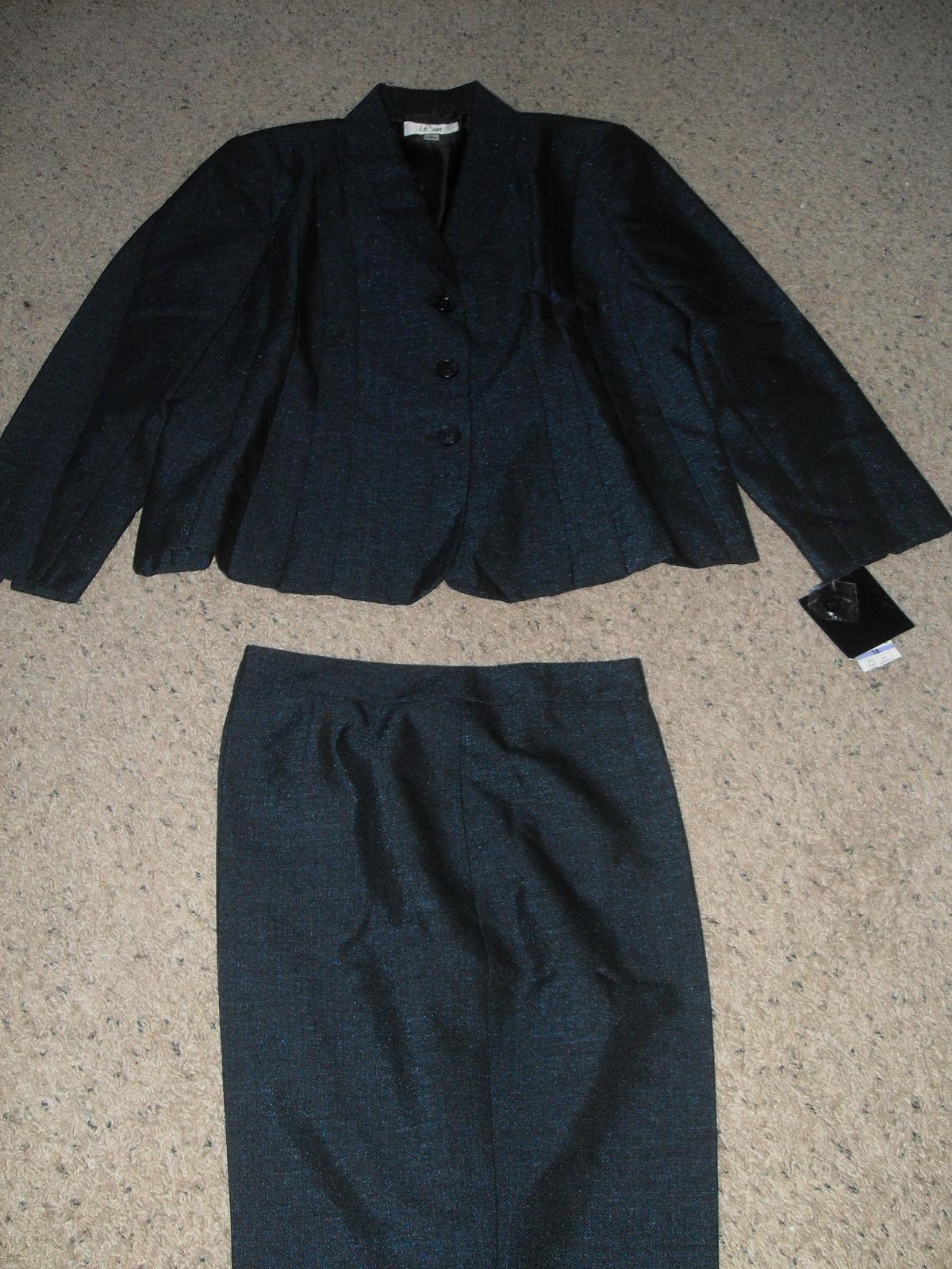 Le Suit Blue Print New Black/Cobalt Seamed Front Shawl Collar Pant Suit  18 - $69.99