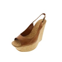 Jessica Simpson New Brown Leather Cork Platform Wedge Slingback Sandals ... - $39.99