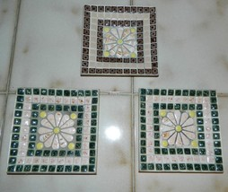 Vintage 1960s 3 Hand Made Multi-Colored Tile Ashtrays With Gold Sparkle ... - $18.66