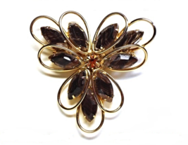 60s Weiss Gold Prong Set Smoky Topaz Rhinestone Brooch with Marquise Cry... - $134.00