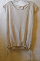 DKNY Jeans Mesh Knit Top Blouse Beige Cap Sleeve Draw String Off White C... - $20.00