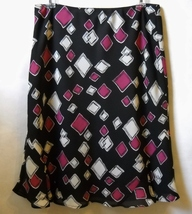 Axcess Liz Claiborne Skirt Black Pink White Lined Flared Bottom Size 10 ... - $25.00