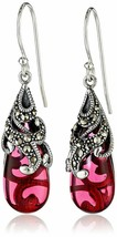 New Amazon Collection Sterling Silver 925 Marcasite Red Glass Teardrop Earrings image 1