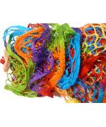 Hand knit frilly fashion rainbow scarf - $20.00