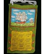 Vintage Boating Boats Calendar Linen Kitchen Tea Towel 1974 Anchor Sailing - $9.49