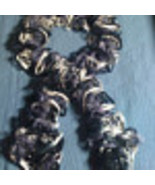 Hand knit frilly grey white & black fashion  scarf - $20.00