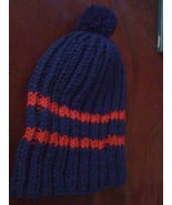 Hand knitted  blue/red beanie/cap/hat - $15.00