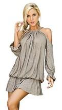 Mapal by AM:PM Women's Romantic Draped Billow Mini Dress, Mocha, Large - $52.59